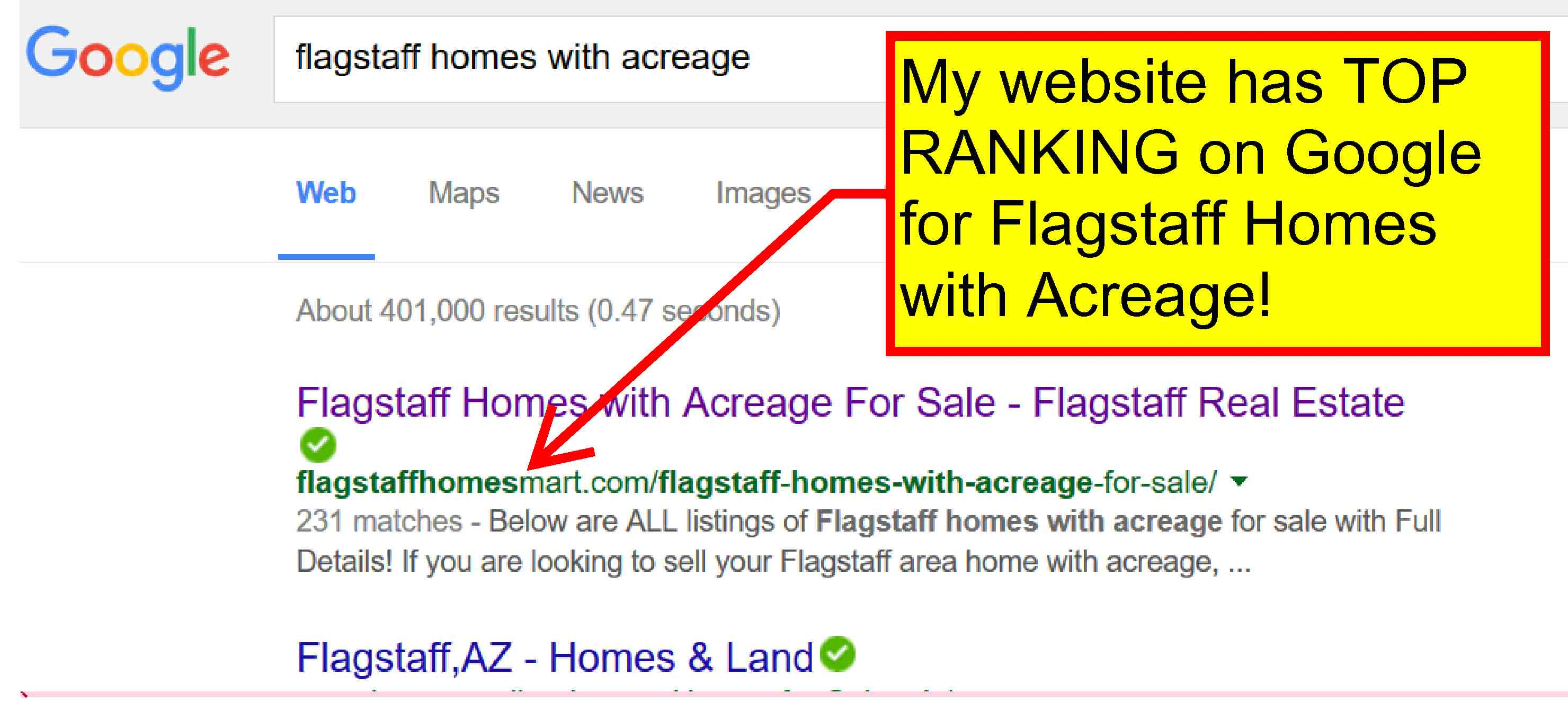 My website has EARNED TOP RANKING on Google for many real estate property searches!