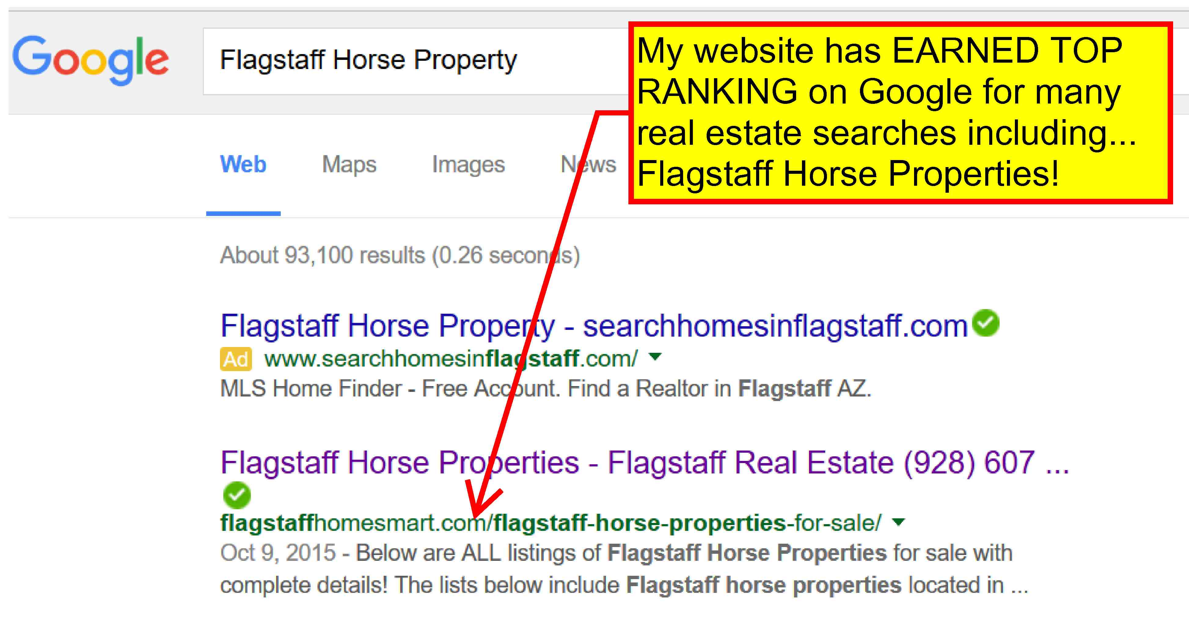 My website has EARNED TOP RANKING on Google for many real estate properties searches.