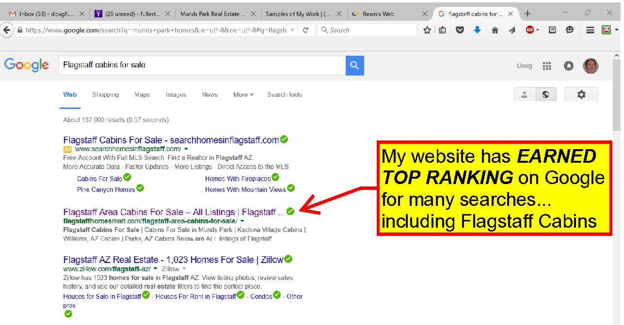 My real estate website has EARNED TOP RANKING on Google for many searches!