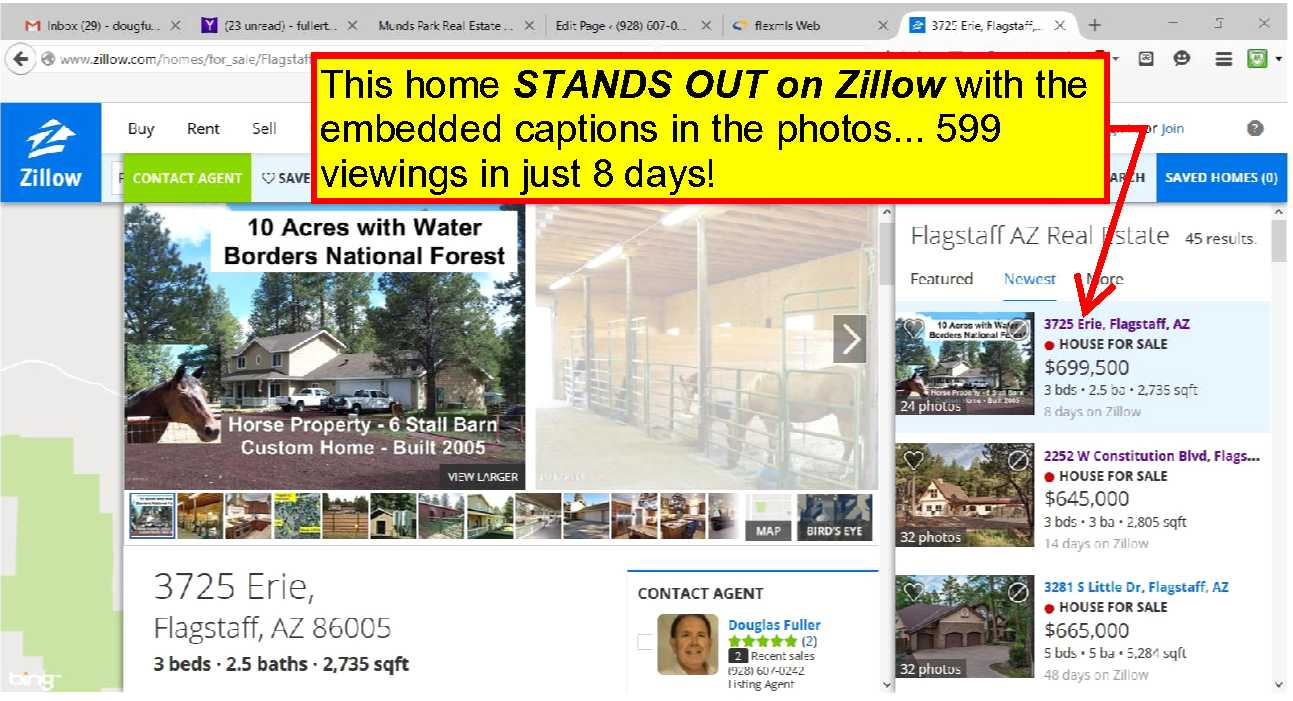 My listings STAND OUT on Zillow with embedded captions in the lead photos!